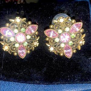 pastel sage and lavender gemstone stud earrings
